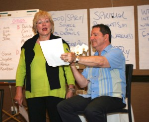 Working with Club Member Joyce Buford at a 2012 seminar